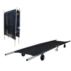 Brancard décontamination roulant pliable/longueur